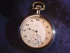 ELGIN 12 SIZE OPEN FACE 17 JEWEL POCKET WATCH IN GOOD RUNNING CONDITION!  #65AR