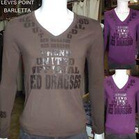 Tshirt A Punta Uomo In Cotone Manica Lunga Stretch Slim Viola Marrone Tg M L XL