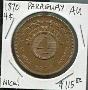 PARAGUAY - FANTASTIC HISTORICAL COPPER 4 CENTESIMOS, 1870, KM# 4.1