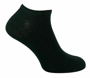 Mens Trainer Ankle Liner Socks Black Cotton Rich Adult Sports Gym Socks 6 Pairs