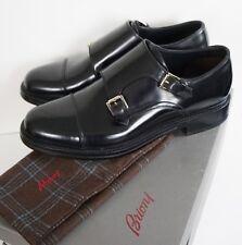 $1525 Authentic BRIONI Black Leather DOUBLE MONK Buckle Dress Shoes US-10 EUR-9