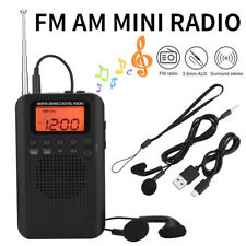 Pocket LCD AM FM Radio Speaker Stereo Two  Band Digital Tuning Radio w/ Earphone