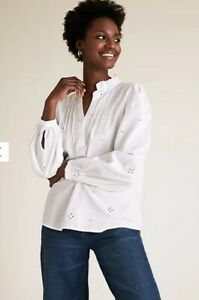 M&S Tunic Blouse Broderie Anglaise Long Sleeve Blouse Top Size 6 Pure Cotton