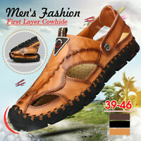Men's Summer Hand Stitching Fisherman Genuine Leather Sandals Closed Toe