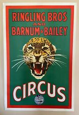 Original 40's Ringling Brothers Snarling Leopard Circus Poster