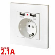 Enchufe de pared 2 USB 2.1A 5V embellecedor blanco salida cargador salida DUAL