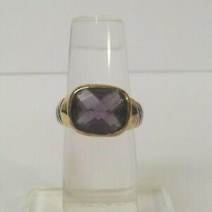 Sterling Silver Designer Ring, Amethyst Stone, Gold Trim, 6.2 Grams, Size 6
