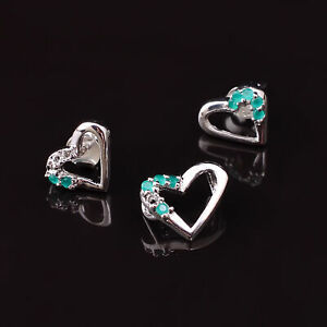 Natural Green Zircon Gemstone Handmade 925 Sterling Silver Earrings Pendant Set