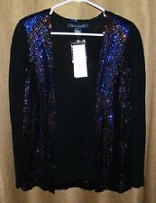 NWT French Connection Deco Sequin Crepe Open Blazer Jacket Black/Blue Size 4