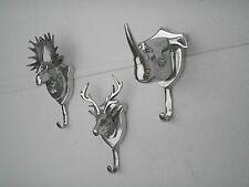 Metal Wall Mount Stag Moose Rhino Head Coat Hooks