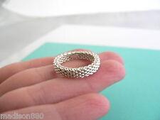 Tiffany & Co Sterling Silver Narrow Mesh Stacking Ring Band Sz 5.25 Rare