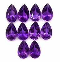 NATURAL DARK PURPLE AMETHYST 6X8 MM PEAR CUT FACETED LOOSE AAA GEMSTONE LOT