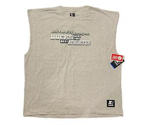 New Starter NCAA Oregon Ducks Men's Gray Logo Cutoff Sleeve Shirt Size 3XL