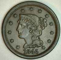 1845 Braided Hair Large Cent Copper Type Coin One Cent US Penny Extra Fine #R2
