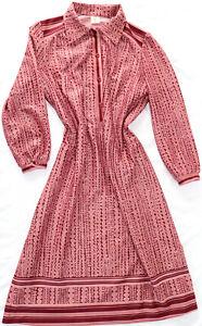 Vestido Vintage DDR Patrón Rosa Roja VEB Ropa de Mujer Medio 60er 70er m50 46