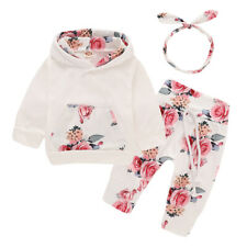 Newborn Baby Girl Clothes Floral Hooded Tops Pants Tracksuit Toddler Outfits Set