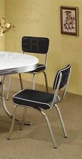 Retro Chrome Coke Dining Chairs with Black Cushions by Coaster 2066 - Set of 2