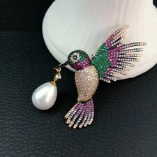 1pc 36x48mm Sea Shell Pearl gold plated Mixed Color Cz micro Bird brooch