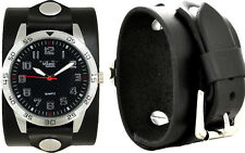 Men's Black Leather Cuff Watch; Wrap Around Cuff; Sport Dial