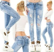 Damen Push Up Jeans Sexy Po Hose Röhrenjeans Skinny Risse Stretch blau XS-XL
