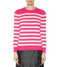 Nouveau Saint Laurent Cashmere Tricot Pull à rayures rose blanc pull L