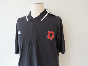 Men's Adidas Ohio State Cotton/Poly Black Polo Golf Shirt Size Large NWT $45