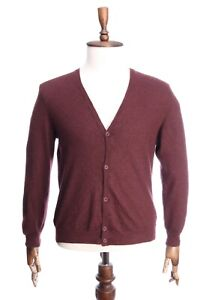 LORO PIANA Italy Cherry Red 100% Cashmere Cardigan Jumper Size 56 (50)
