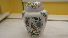 LARGE SIX SIDED GINGER JAR WITH AN EXOTIC BIRD AND FLORAL PATTERN   NO MAKER