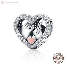 Charm Anhänger f. Pandora Hand Hände Herz Herzen Liebe Perle 925 Sterlingsilber