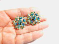 Green AB Rhinestone Gold Tone Metal Flower Clip On Earrings Vintage