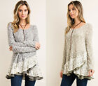 ENTRO Sweater Ruffled Lace Trim Loose Flowy Long Sleeve Knit Tunic Top Boho S-L