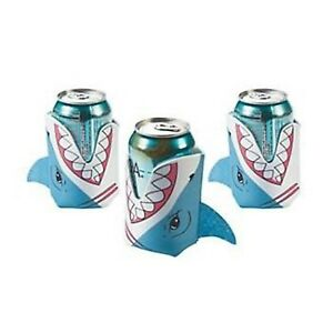 3 x SHARK CAN COVERS SEA OCEAN BEACH PARTY FAVOURS FOAM SODA CANCOVER HOLDER