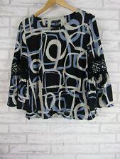 ALFANI Top/Blouse Sz M Blue, White Print  Bubble Hem Line