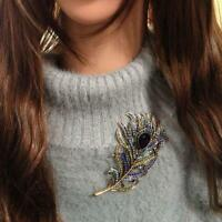 Crystal Peacock Feathers Brooch Boho Enamel Pins Deep Blue Brooches Jewelry Gift