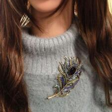Women Lady Fashion Peacock Feather Crystal Rhinestone Brooches Pin Wedding Party
