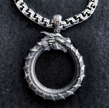 Dragon Creature animal round Big Pendant necklace oxidized 925 silver Gift Men