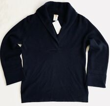 JCREW Women's 100% Cashmere Navy 3/4 Sleeve Sweater - Medium