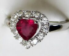 Genuine Ruby Heart & White Zircon  Ring, 925 Sterling Silver, size 7 -- 1.59cts