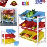 Solid Wood Toy Rack Kids' Toy Storage Organizer Children Finishing Storage Rack