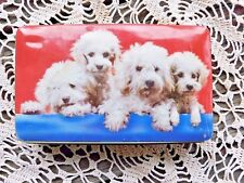 Vintage Poodle Puppy Candy Tin Filled With Sewing Supplies