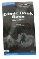 100 BCW Modern / Current Comic Book Protection Bags Sleeves 6 7/8 X 10 1/2 2 Mil