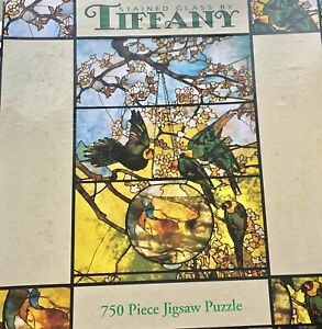 """NOS Tiffany Stained Glass Puzzle 24""""x18"""" 750 Piece Puzzle"""