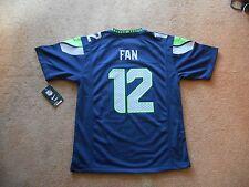 Authentic Nike #12 Fan 12th Man Seattle Seahawks Football Jersey Boys L TAGS NEW