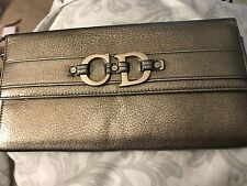 Authentic Christian Dior Silver Leather Wristlet Clutch