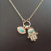 Charm Evil Eye Hamsa Hand of Fatima Judaica Kabbalah Charm Pendant Necklace Gift