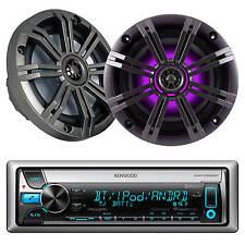"""Kenwood Bluetooth USB CD iPod AUX Marine Radio &2 Kicker 6.5""""LED Marine Speakers"""