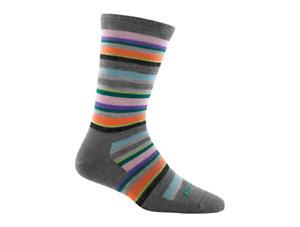 Darn Tough Women's Sassy Stripe Crew Light Charcoal Socks Size M