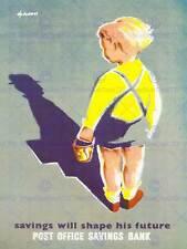 ADVERT CHILDREN KIDS SAVING ACCOUNT CHILD SHADOW MAN UK ART POSTER CC6178