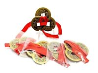 Feng Shui Coins Lucky Chinese i-Ching 23mm Set of 3, Red Ribbon i ching 5 x Lot