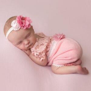 Newborn Baby Girl Lace Jumpsuit Headband Photography Props Studio Photo Shoot